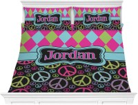 Harlequin & Peace Signs Comforter Set - King (Personalized ...