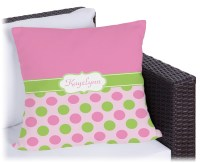 Pink & Green Dots Outdoor Pillow (Personalized ...