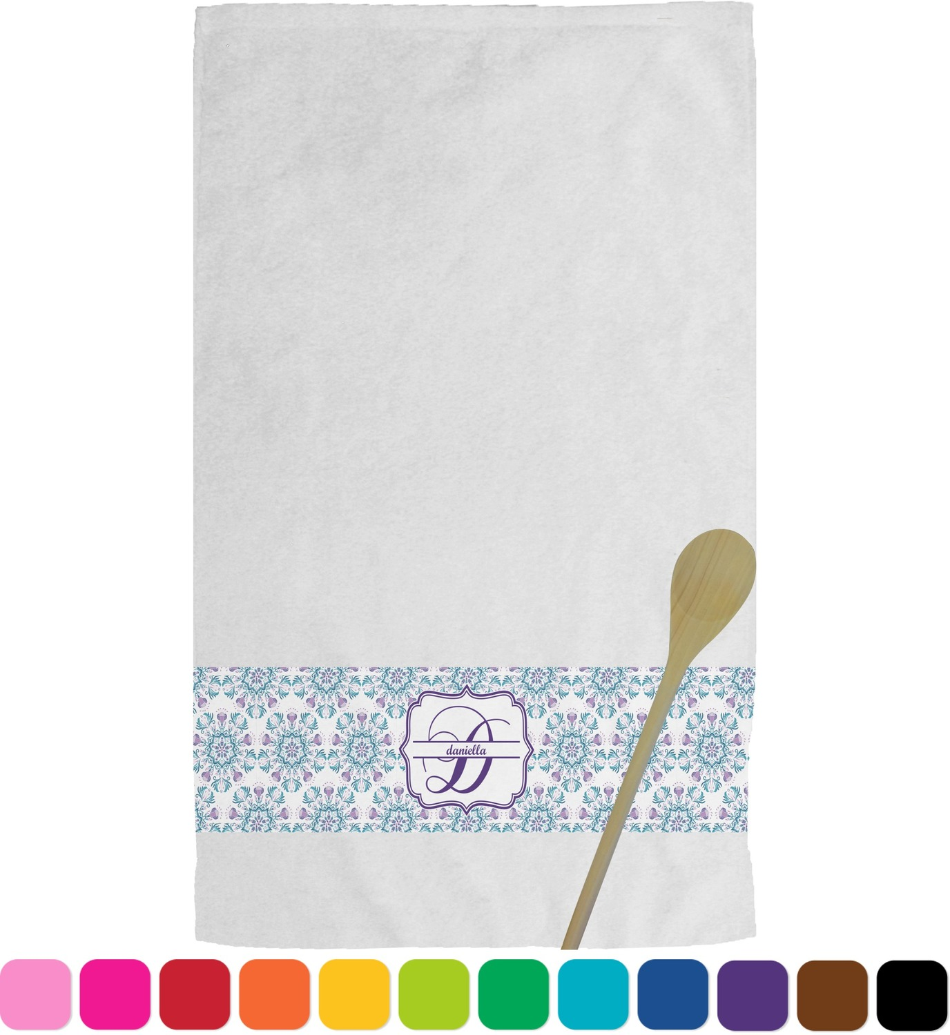 personalized kitchen towels island table with chairs mandala floral towel youcustomizeit