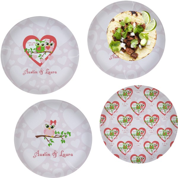 Valentine Owls Set of 4 Glass Lunch Dinner Plate 10