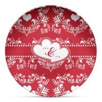 Heart Damask Microwave Safe Plastic Plate - Composite ...