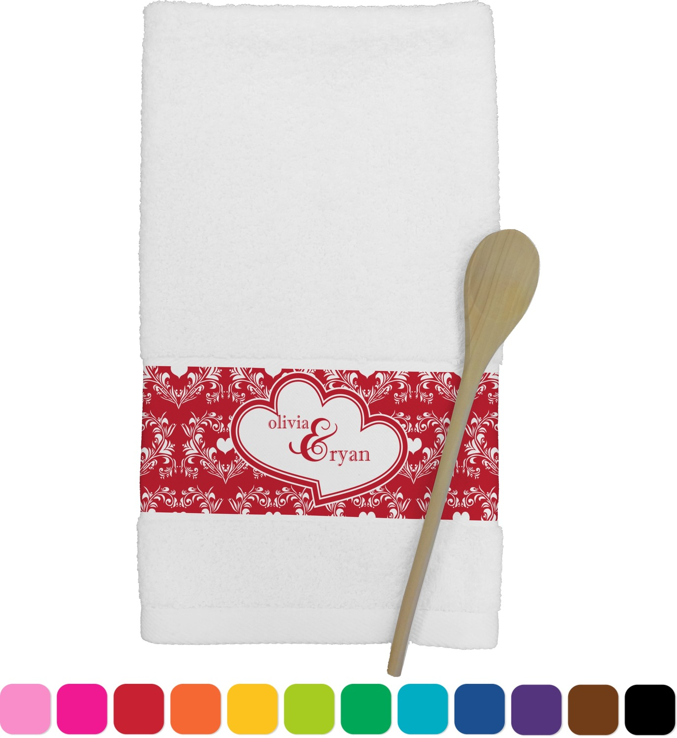 personalized kitchen towels grey wood table heart damask towel youcustomizeit