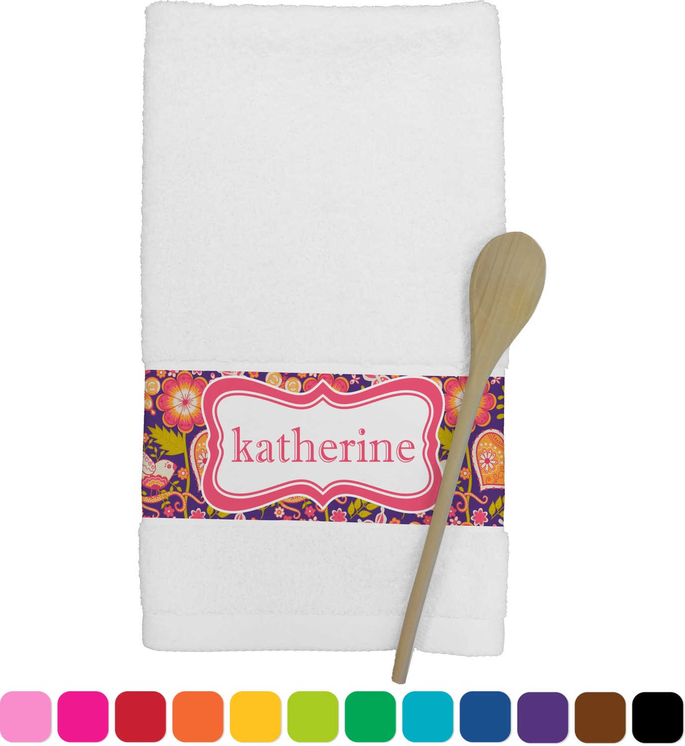 personalized kitchen towels cabinet com birds and hearts towel youcustomizeit