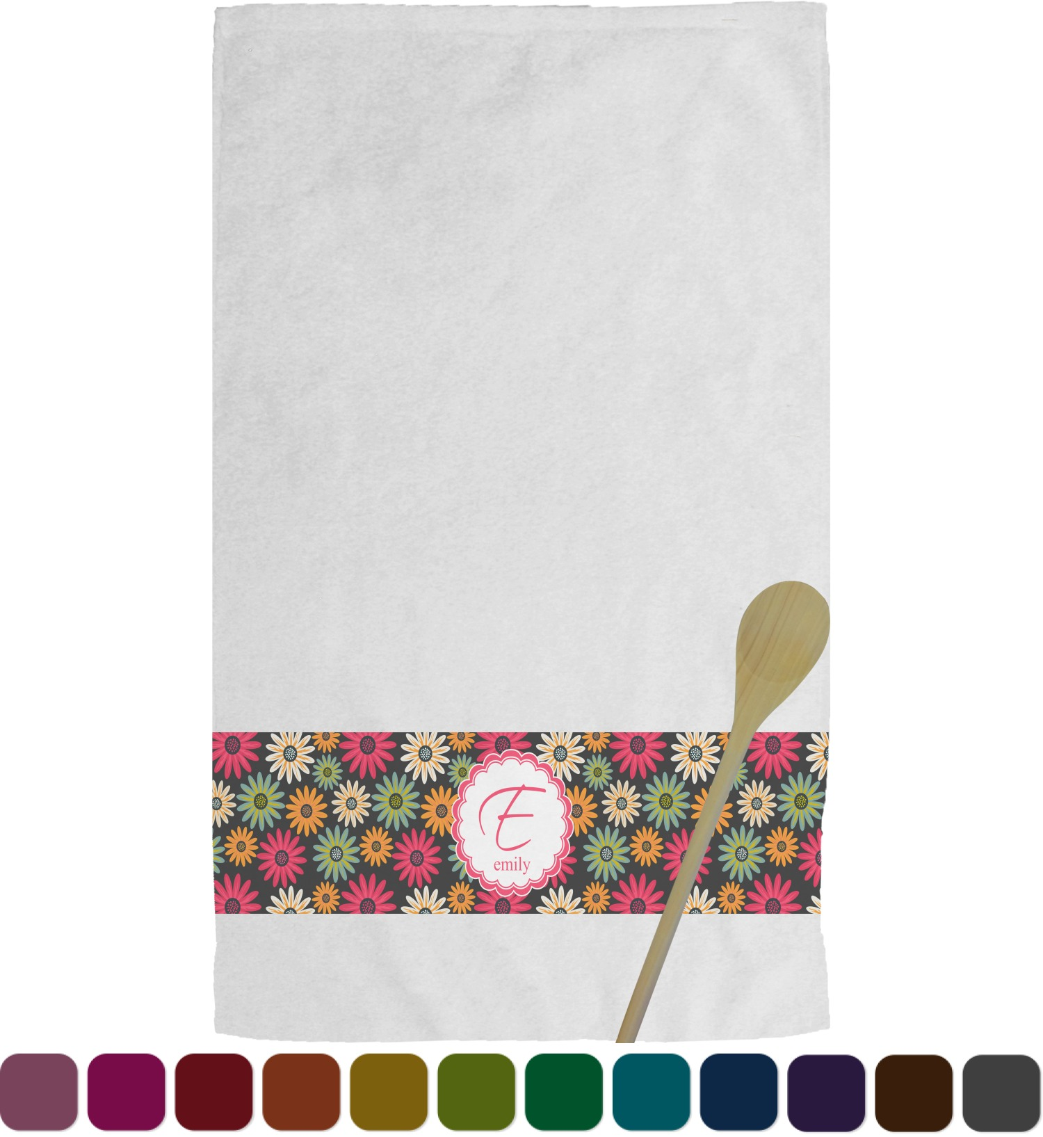 personalized kitchen towels cabinet shelves daisies towel youcustomizeit