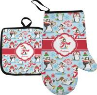 Christmas Penguins Oven Mitt & Pot Holder (Personalized ...