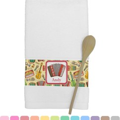 Personalized Kitchen Towels Wire Shelves Vintage Musical Instruments Towel