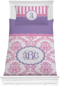 Pink, White & Purple Damask Comforter Set (Personalized ...