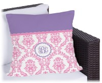 Pink, White & Purple Damask Outdoor Pillow - 16 ...