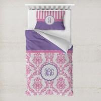 Pink, White & Purple Damask Duvet Cover Set - Toddler ...