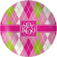 Pink & Green Argyle Melamine Plate (Personalized ...
