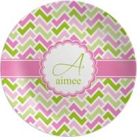 Pink & Green Geometric Melamine Plate (Personalized ...