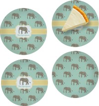 Elephant Set of 4 Glass Appetizer / Dessert Plate 8 ...