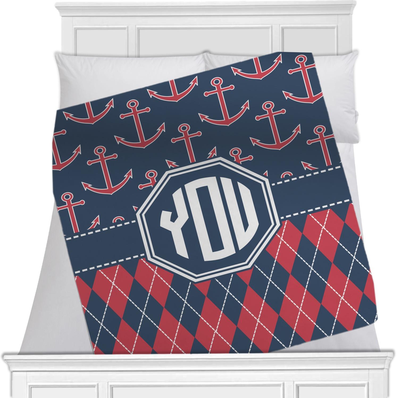 anchors argyle blanket personalized