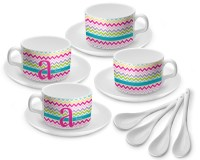 Colorful Chevron Tea Cup - Set of 4 (Personalized ...