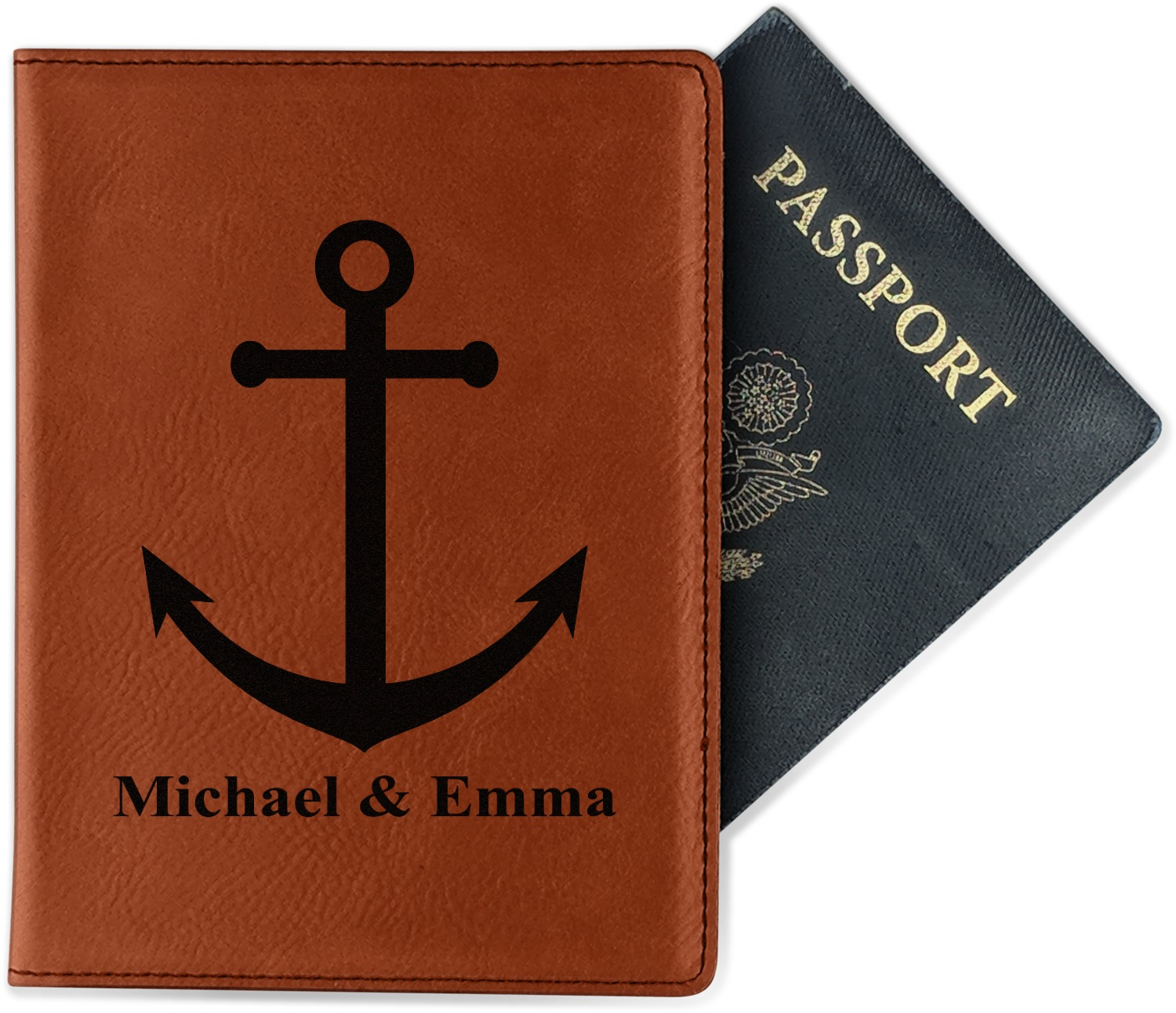 Anchors Leatherette Passport Holder - Double Sided