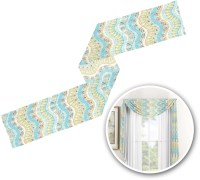 Teal Ribbons & Labels Window Sheer Scarf Valance ...