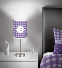 Gingham Print Drum Lamp Shade Linen (Personalized