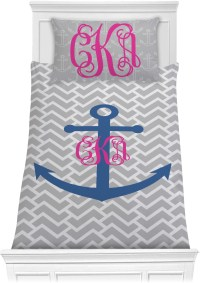 Monogram Anchor Comforter Set - Twin (Personalized ...