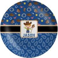 Blue Western Melamine Plate (Personalized) - YouCustomizeIt