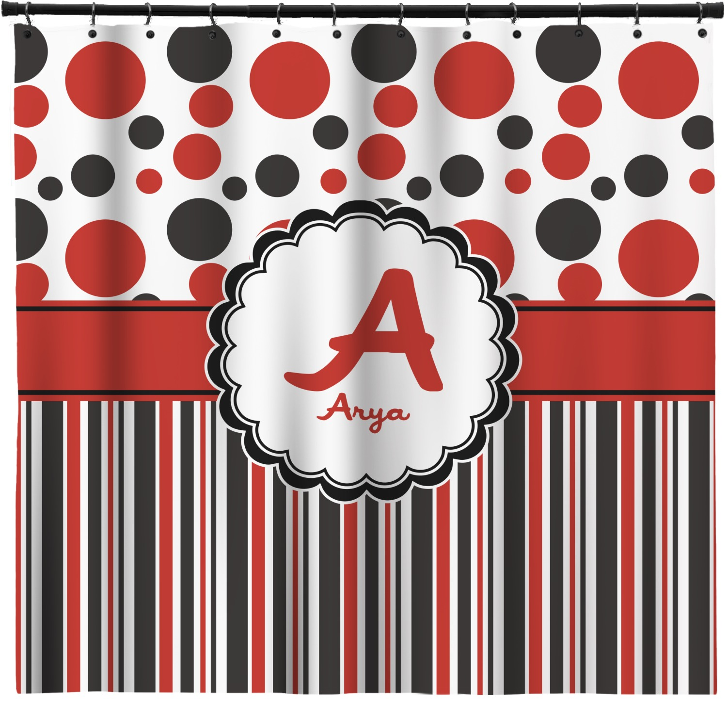 Red Black Dots Stripes Shower Curtain Personalized