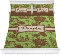 Green & Brown Toile Comforter Set - Full / Queen ...