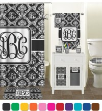 Monogrammed Damask Shower Curtain (Personalized ...
