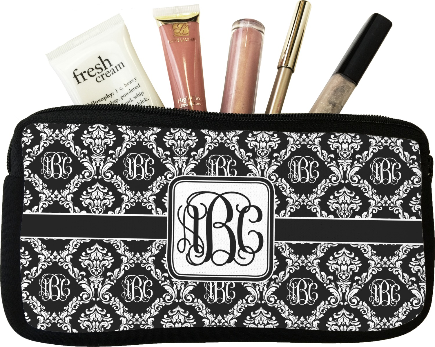 monogrammed damask makeup cosmetic bag personalized