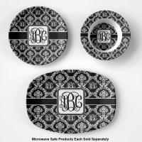 Monogrammed Damask Plastic Bowl - Microwave Safe ...