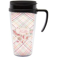 Modern Plaid & Floral Travel Mug with Handle (Personalized ...