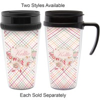 Modern Plaid & Floral Travel Mug (Personalized ...