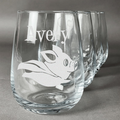 Flying Pigs Wine Glasses (Stemless- Set of 4