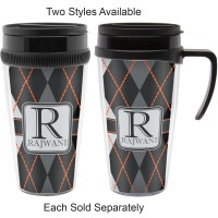 Modern Chic Argyle Travel Mug with Handle (Personalized ...