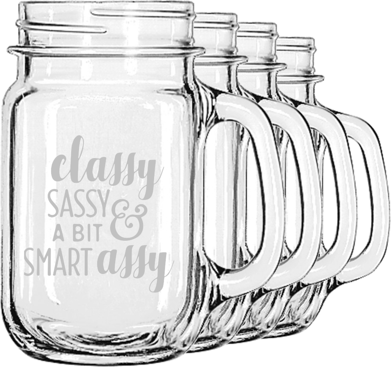 Sassy Quotes Mason Jar Mugs (Set of 4) (Personalized