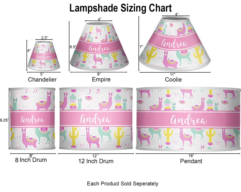 llamas lamp sizing chart  [ 1500 x 1198 Pixel ]