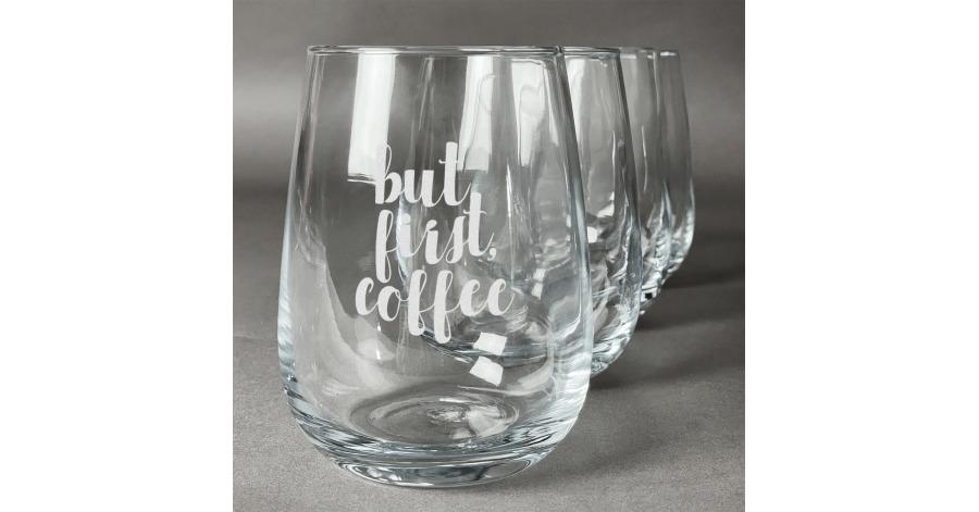 Coffee Addict Stemless Wine Glasses (Set of 4