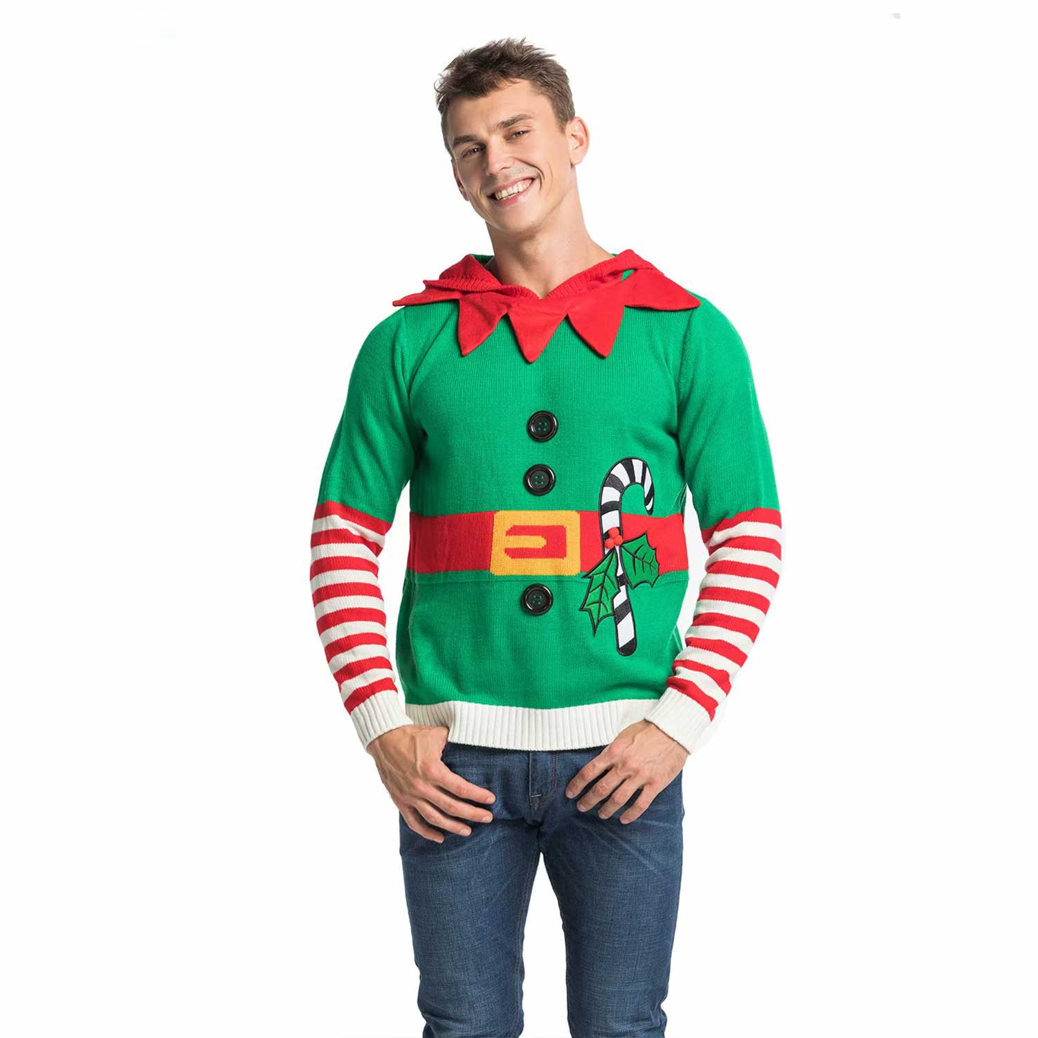 Funny Knitted Elf With Bell Men S Christmas Sweater Hoo