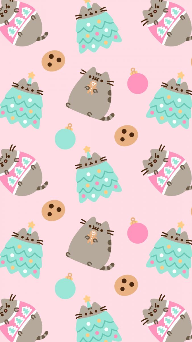 Cute Cat Cartoon Iphone Wallpaper Новогодние обои на телефон с котом Пушином Youloveit Ru