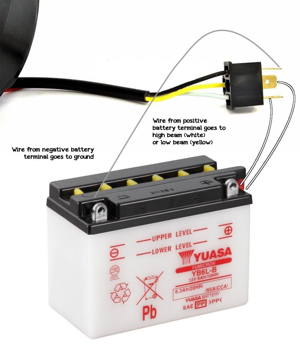 medium resolution of one wire from the negative battery terminal to the headlight s ground usually black wire one wire from the positive battery terminal to the contact for
