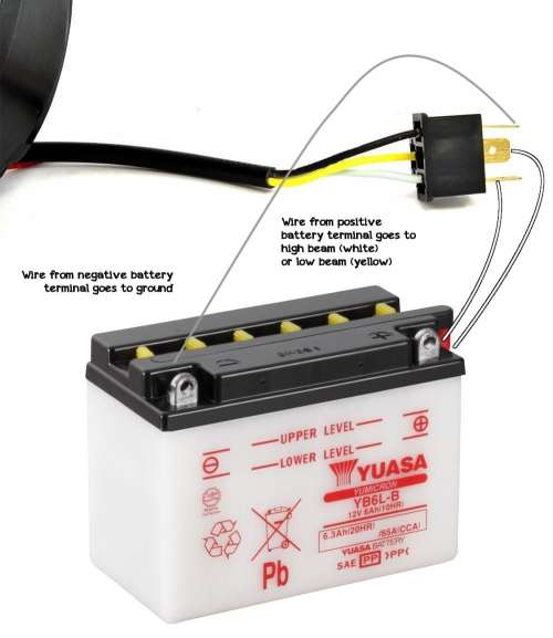 small resolution of one wire from the negative battery terminal to the headlight s ground usually black wire one wire from the positive battery terminal to the contact for