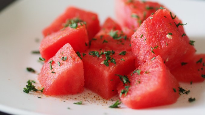 Sliced watermelon with Lemon Parsley Cayenne Pepper