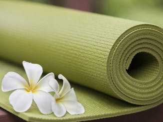 Green Yoga Mat with white flowers