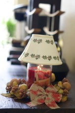 holiday candle village candle with ceramic candle shade