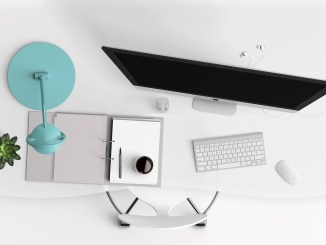 White Modern Desk worksite wellness younfolded blog