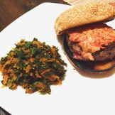 Blue Apron meal Fresh Pimento Burger with Collard Greens and Carrot Slaw
