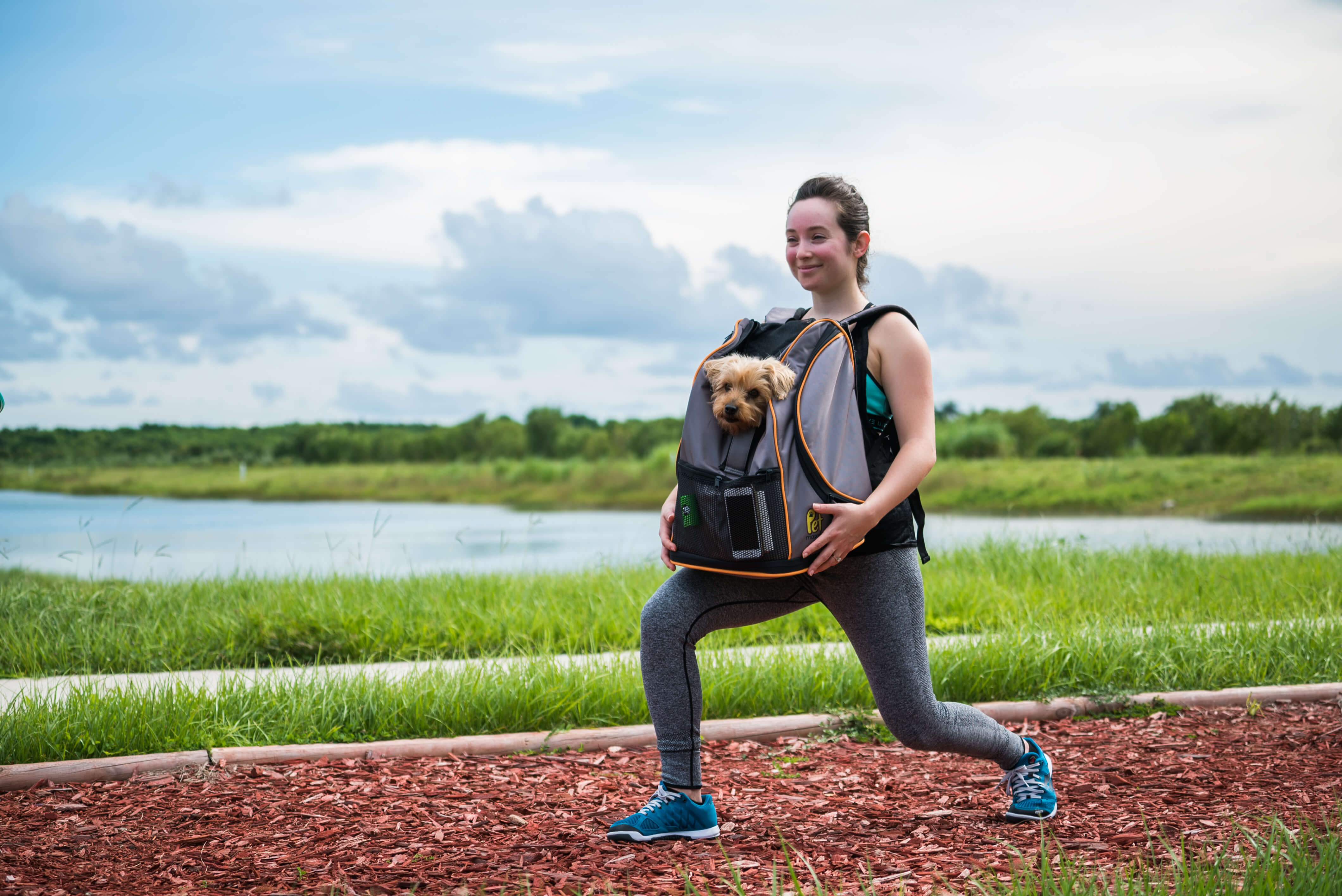 lunges with dog in backpack workout exercises pets younfolded blog