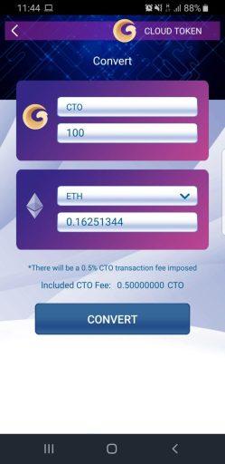 cto token innerhalb des cloud token wallet in eth tauschen