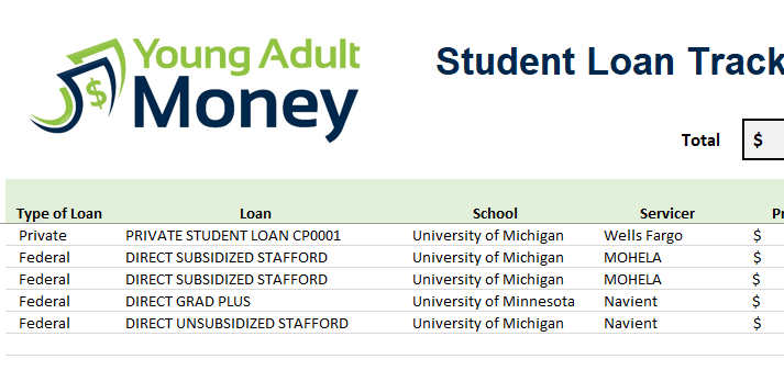 student loan excel template