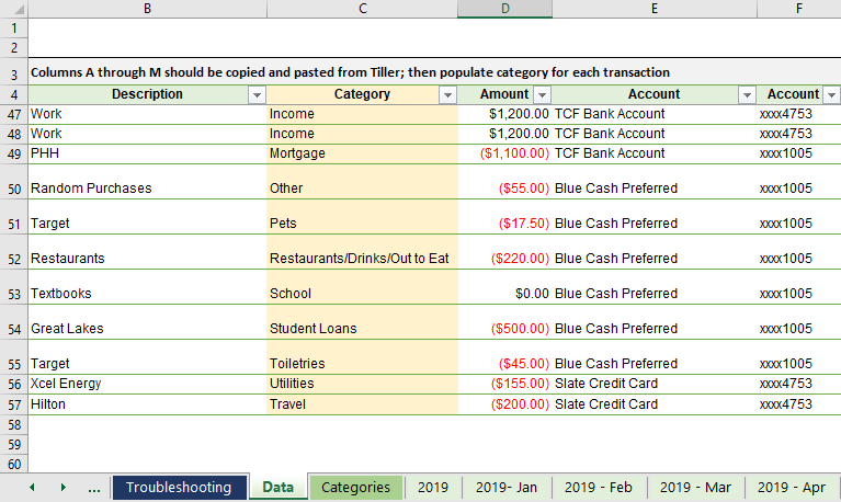 Automated Budget Spreadsheet In Excel Young Adult Money