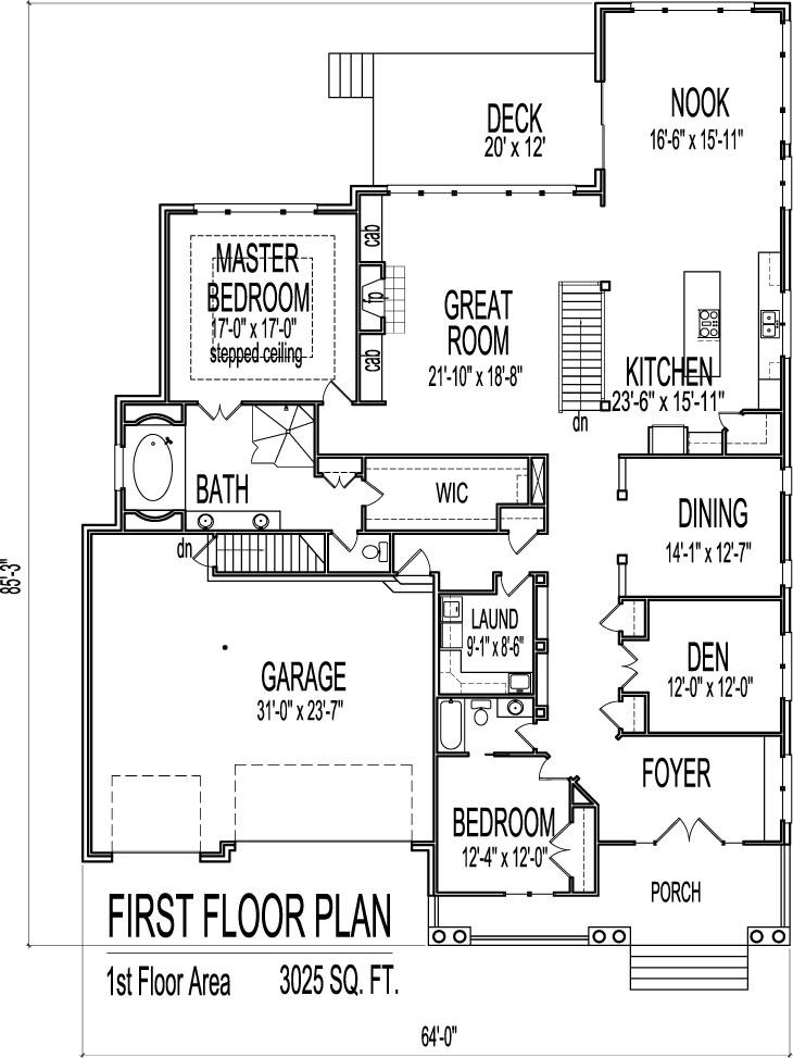 House Drawings of Blueprints 2 Bedroom Home Floor Plan