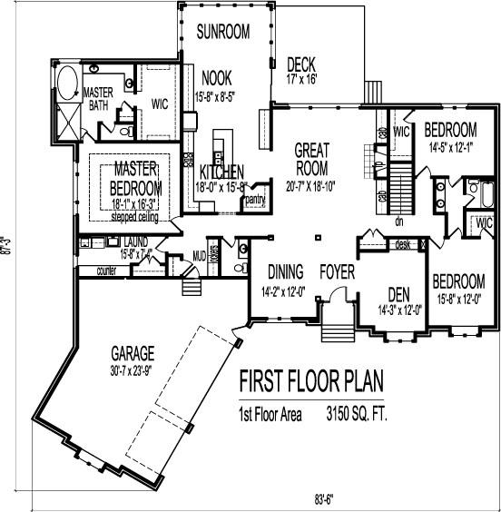 4 bedroom 3 bath 2 car garage house plans for Bathroom in garage plans